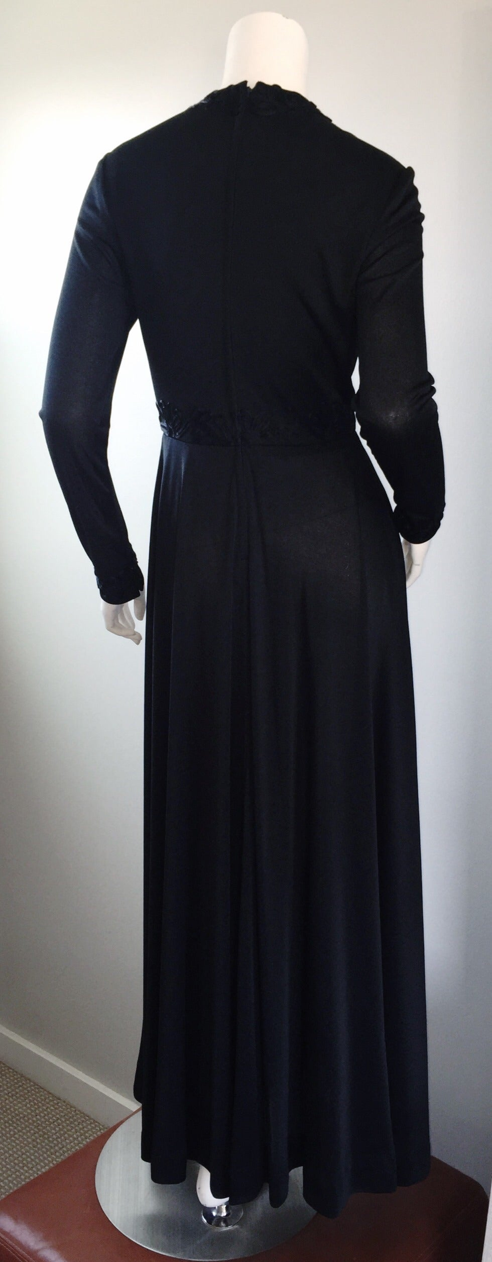 Vintage Jack Bryan Black Jersey Maxi Dress w/ Intricate Embroidery 1970s 70s 5