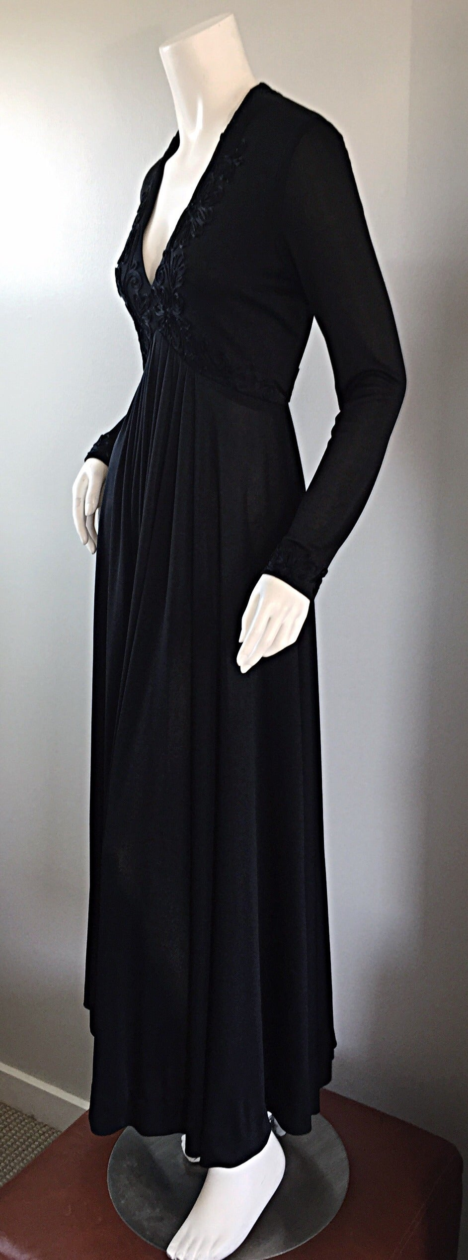 Vintage Jack Bryan Black Jersey Maxi Dress w/ Intricate Embroidery 1970s 70s 6