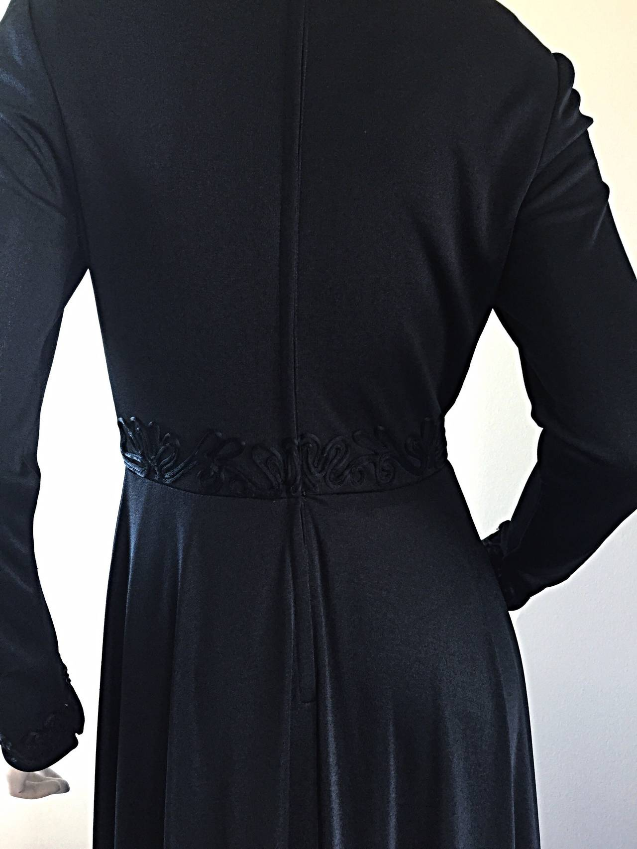 Vintage Jack Bryan Black Jersey Maxi Dress w/ Intricate Embroidery 1970s 70s 7