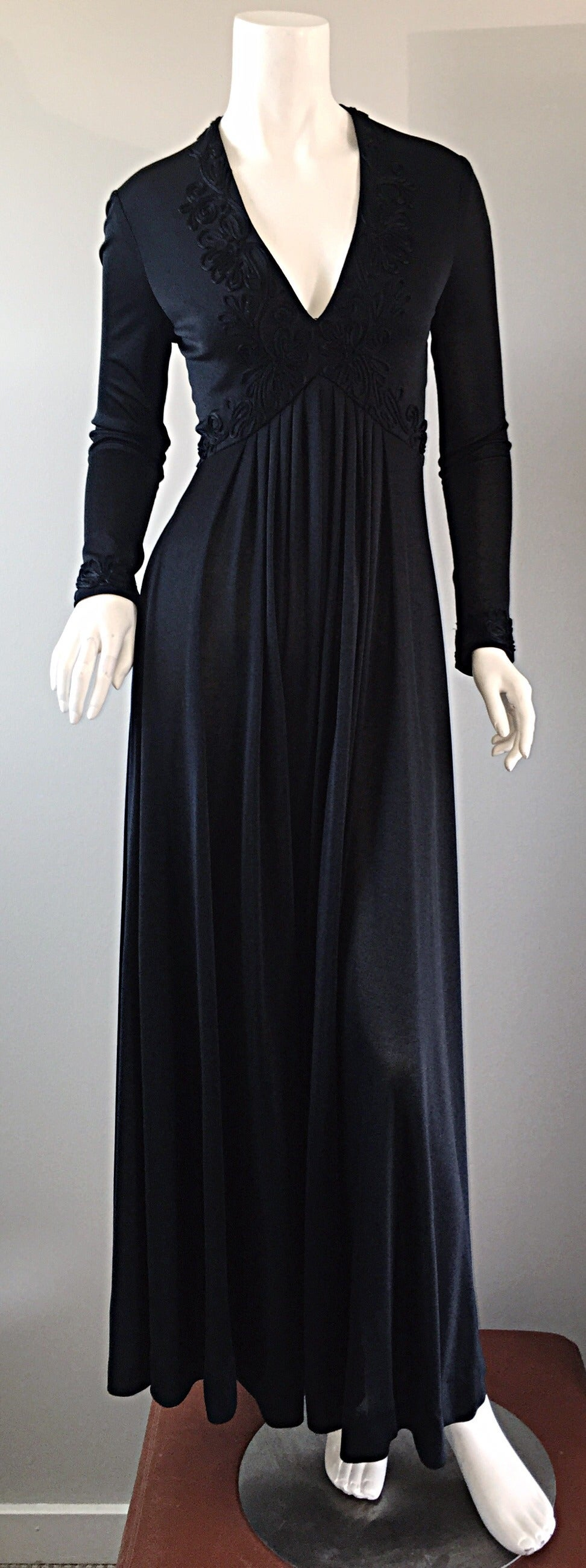 Vintage Jack Bryan Black Jersey Maxi Dress w/ Intricate Embroidery 1970s 70s 8