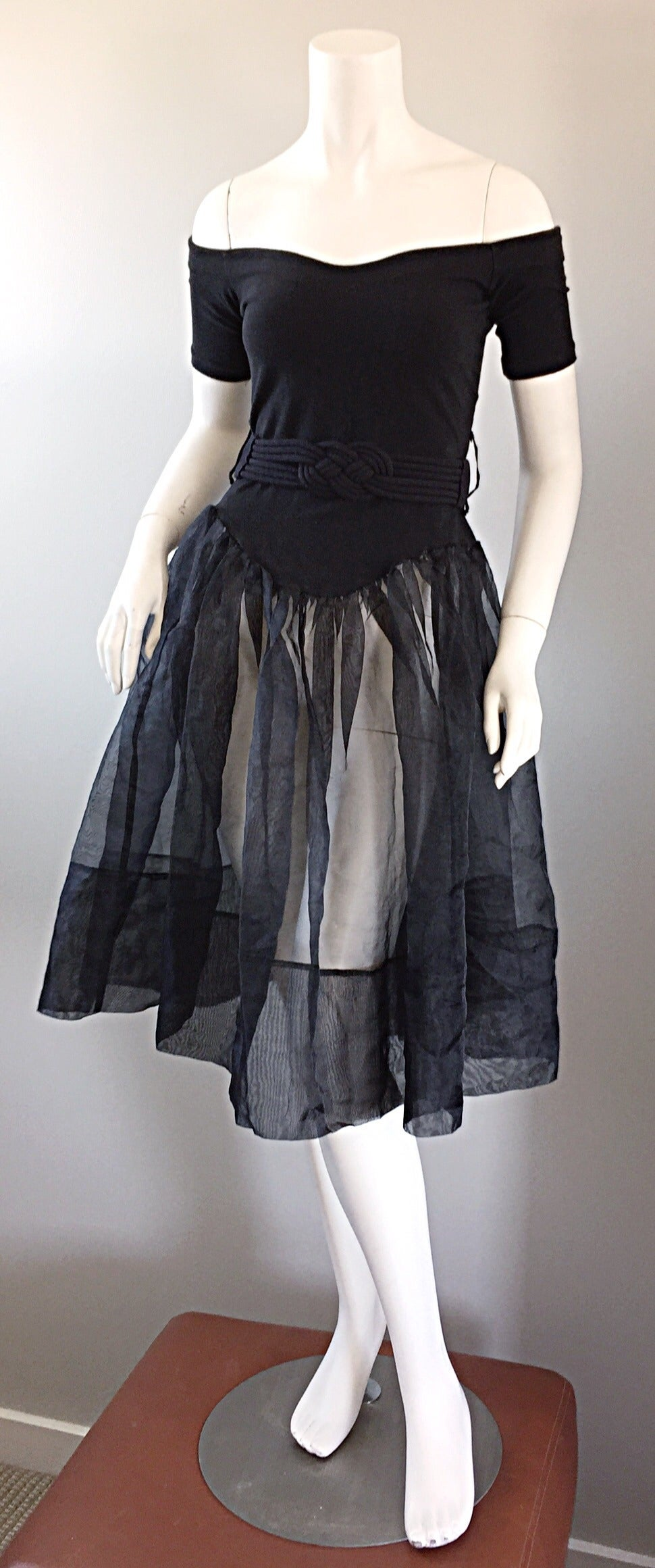 Rare Early Vintage Betsey Johnson Punk Label Black ' Ballerina ' Dress + Belt 7