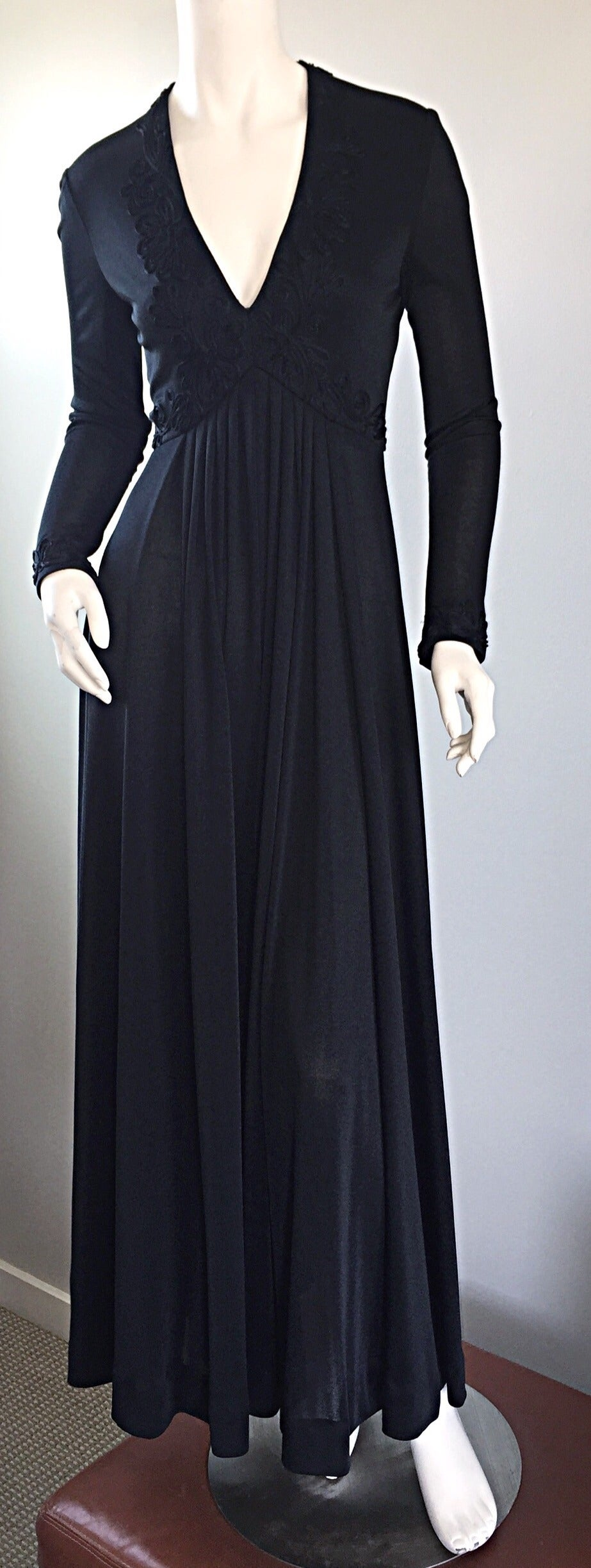 Vintage Jack Bryan Black Jersey Maxi Dress w/ Intricate Embroidery 1970s 70s 9