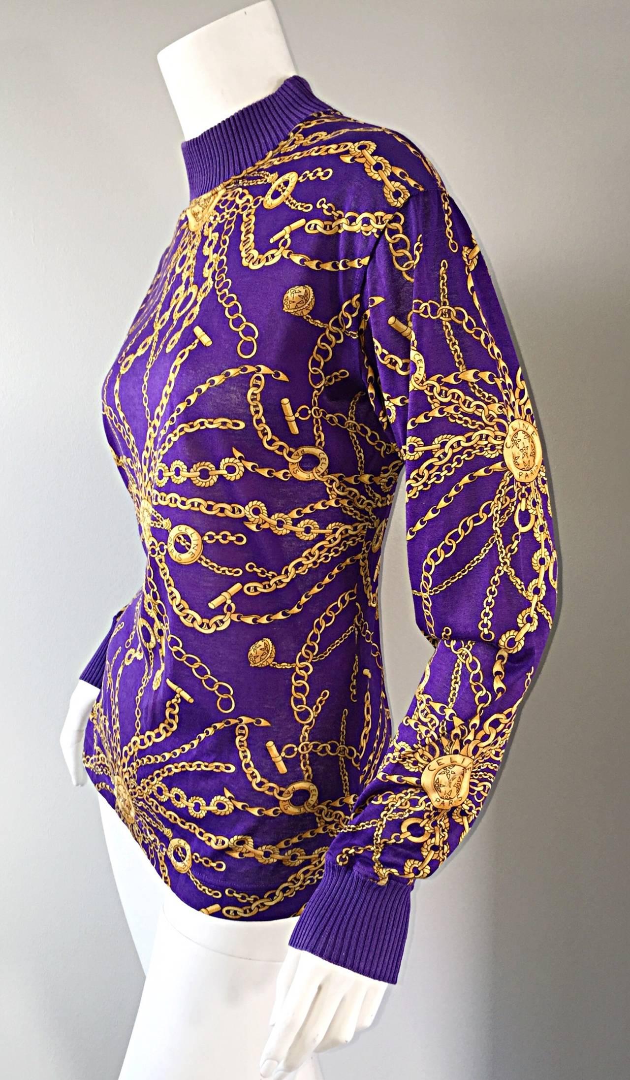 Celine Purple + Gold Long Sleeve Vintage Cotton Top Blouse ...