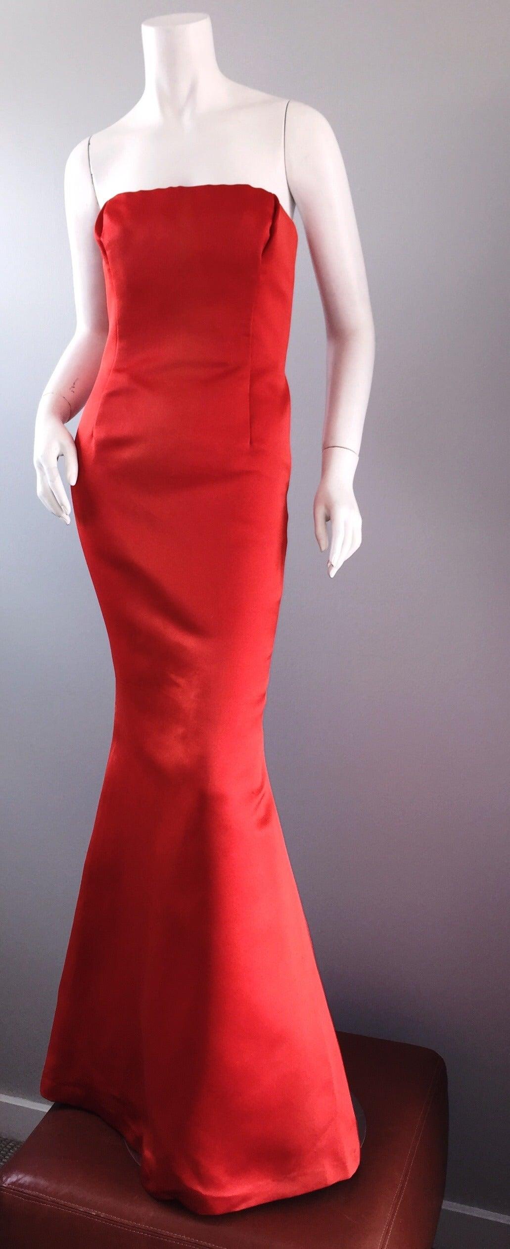 Red Silk Mermaid Dress