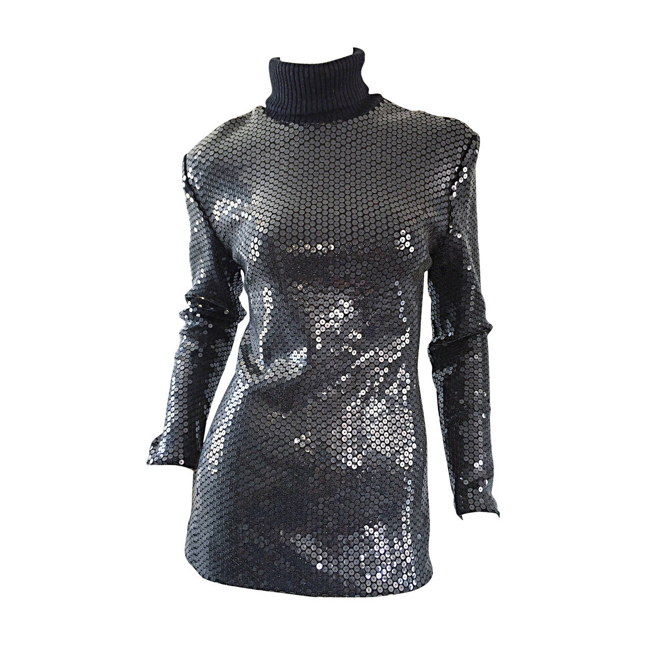 Rare Very Early Michael Kors Runway Sample Gray Sequins Turtleneck Sweater For Sale