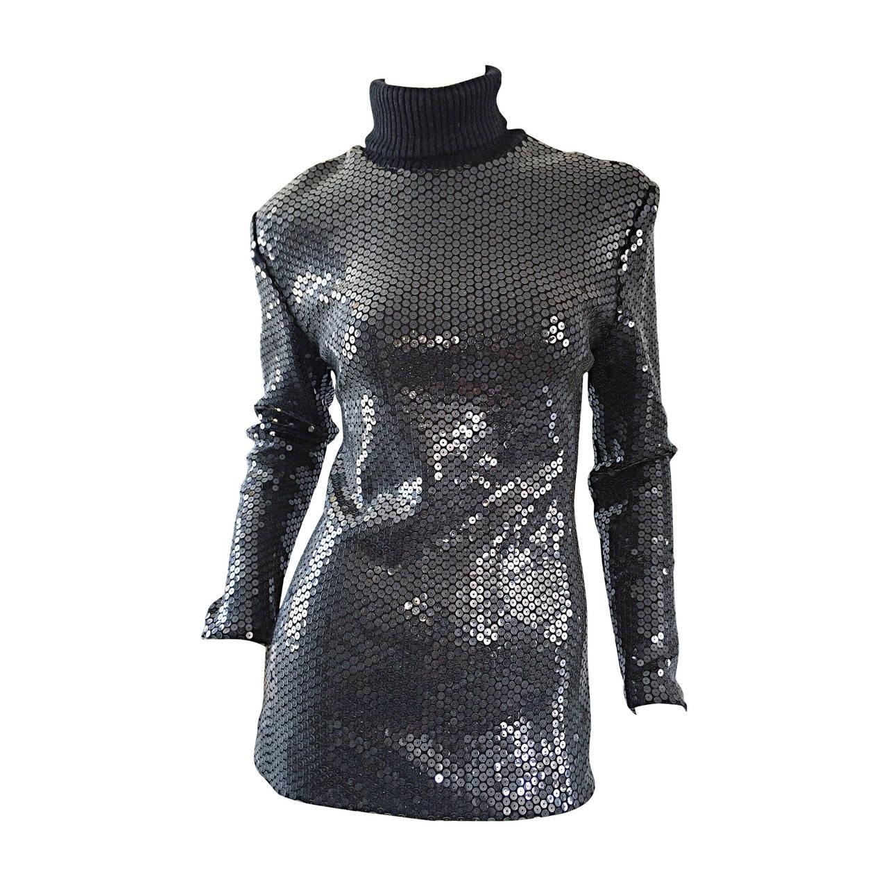 Rare Very Early Michael Kors Runway Sample Gray Sequins Turtleneck Sweater 1