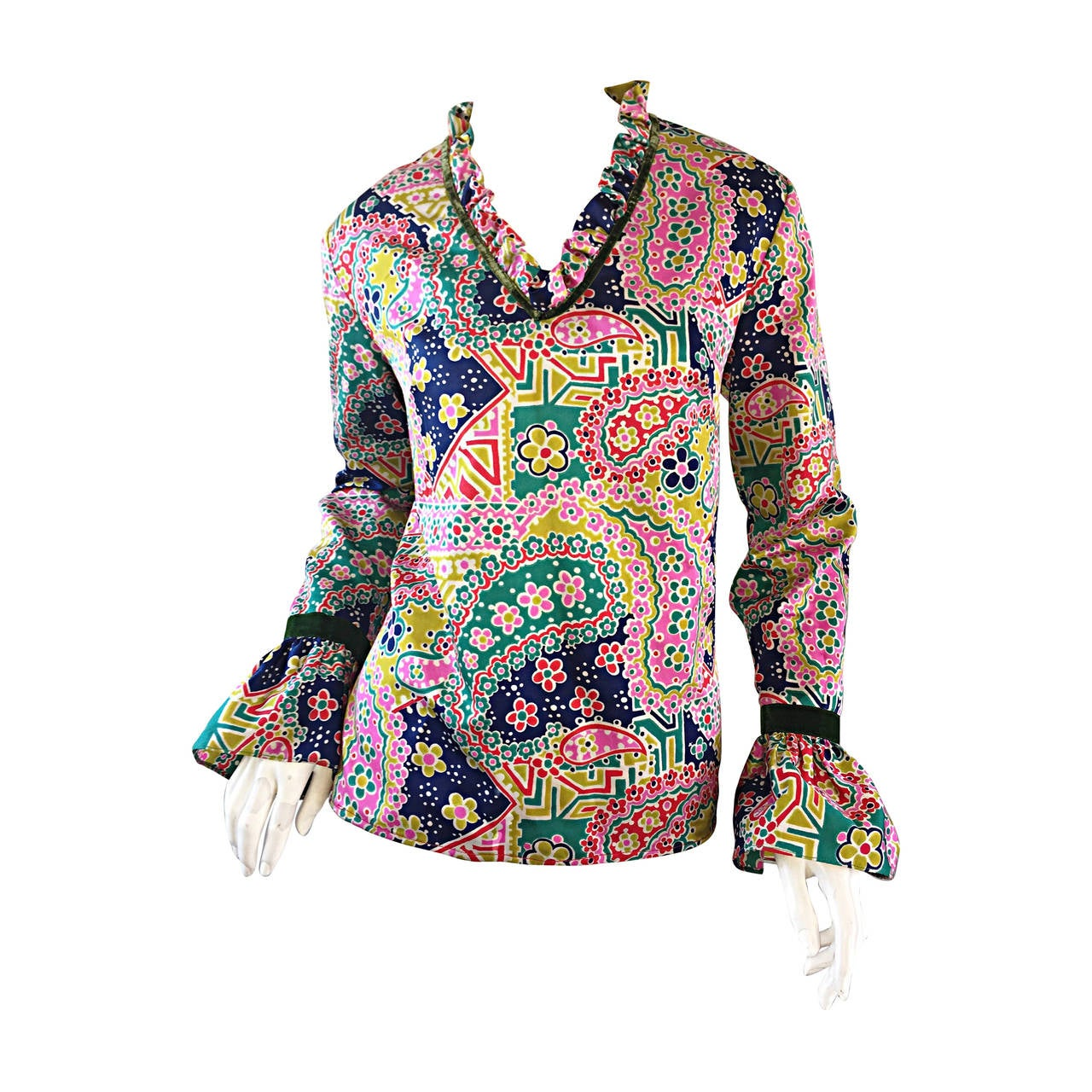 Psychedelic 1970s 70s Paisley + Floral Multi - Color Boho Top / Blouse / Tunic