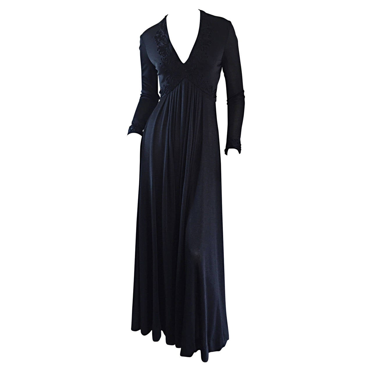 Vintage Jack Bryan Black Jersey Maxi Dress w/ Intricate Embroidery 1970s 70s