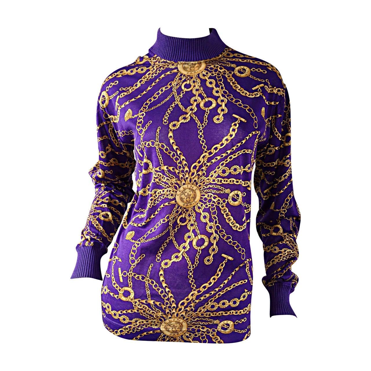 Celine Purple + Gold Long Sleeve Vintage Cotton Top Blouse w/ Chain Print