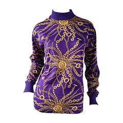 Celine Purple + Gold Long Sleeve Vintage Cotton Top Blouse w/ Chain Print