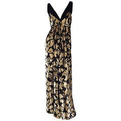 Gorgeous Vintage RIchilene Black + Gold Metallic Silk Velvet Gown