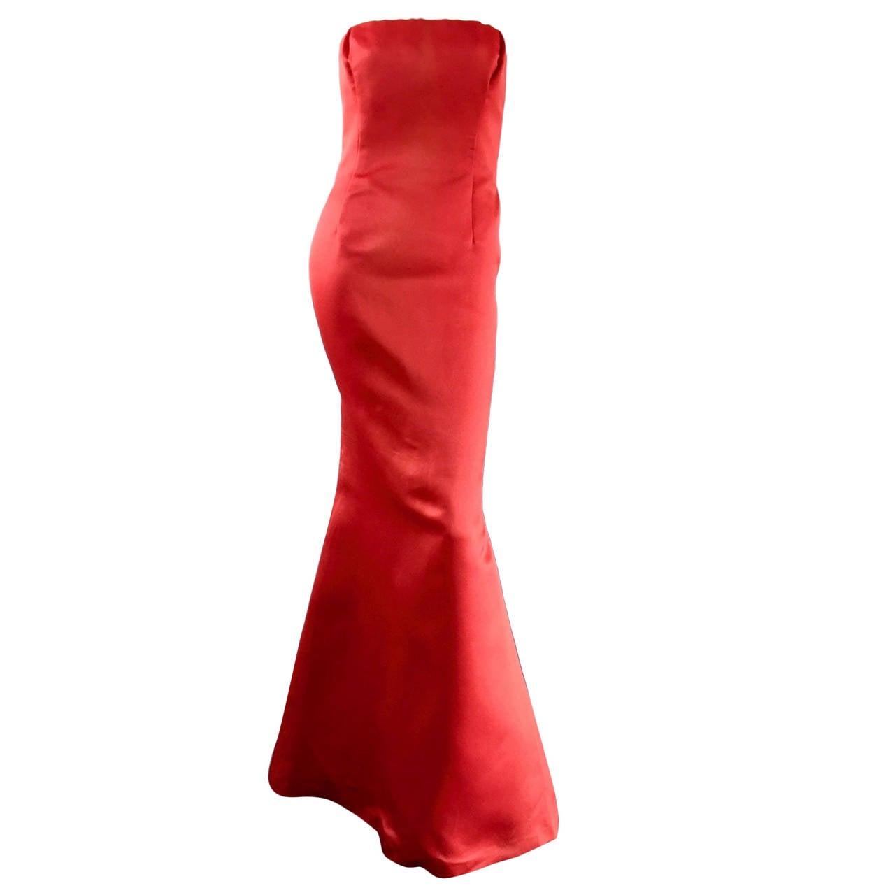Stunning Vintage Bill Blass Lipstick Red Strapless Silk Mermaid Dress / Gown