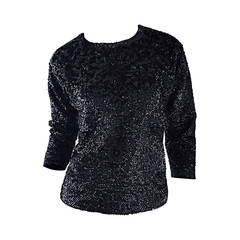 Beautiful 1950s 50s Black Vintage Sequin Beaded Wool Sweater