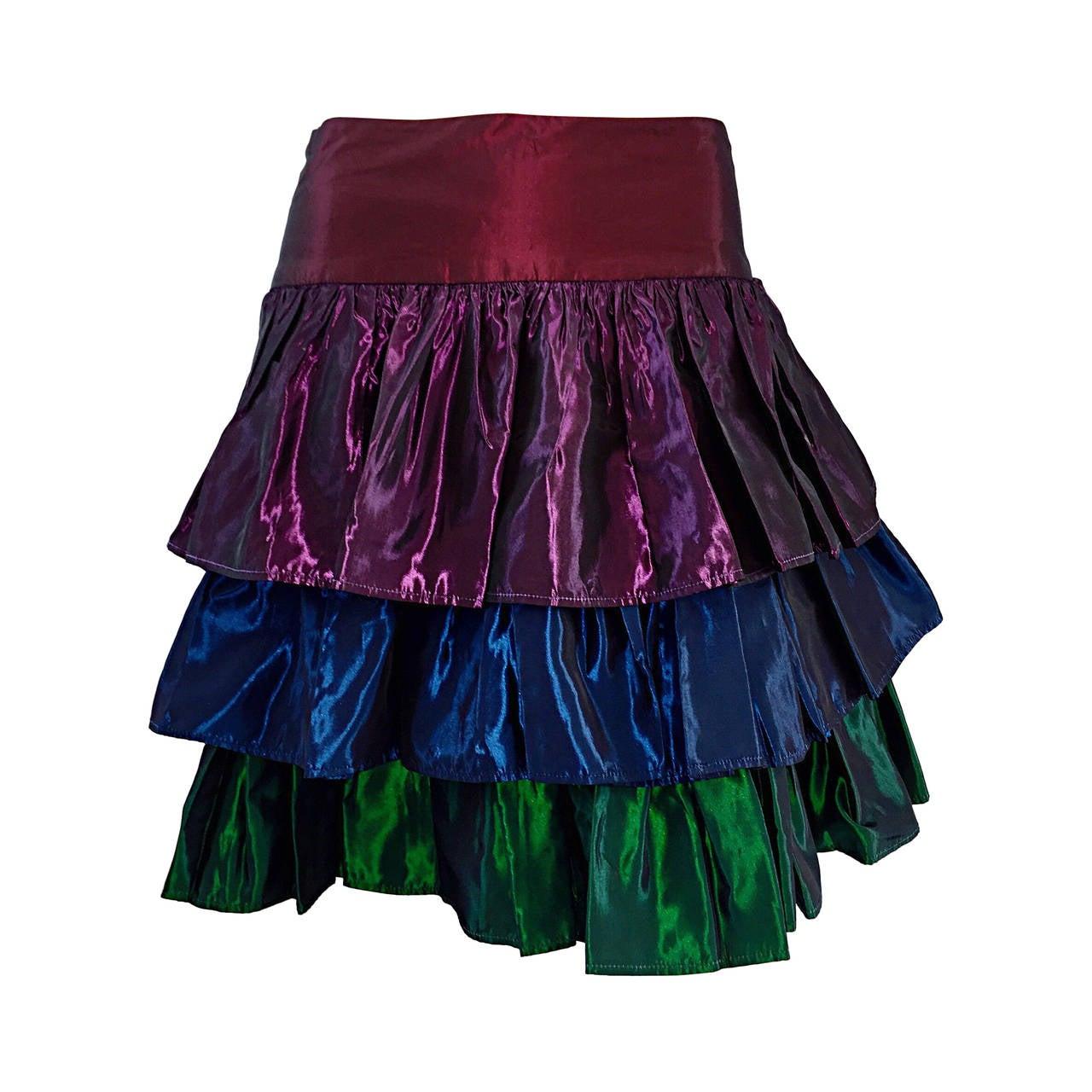 Kalinka For Bergdorf Goodman Tiered Taffeta ' Rainbow ' Vintage Skirt 1