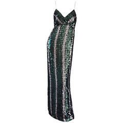 Vintage Lillie Rubin Green + Silver Sequins Sexy 1970s 70s Disco Dress