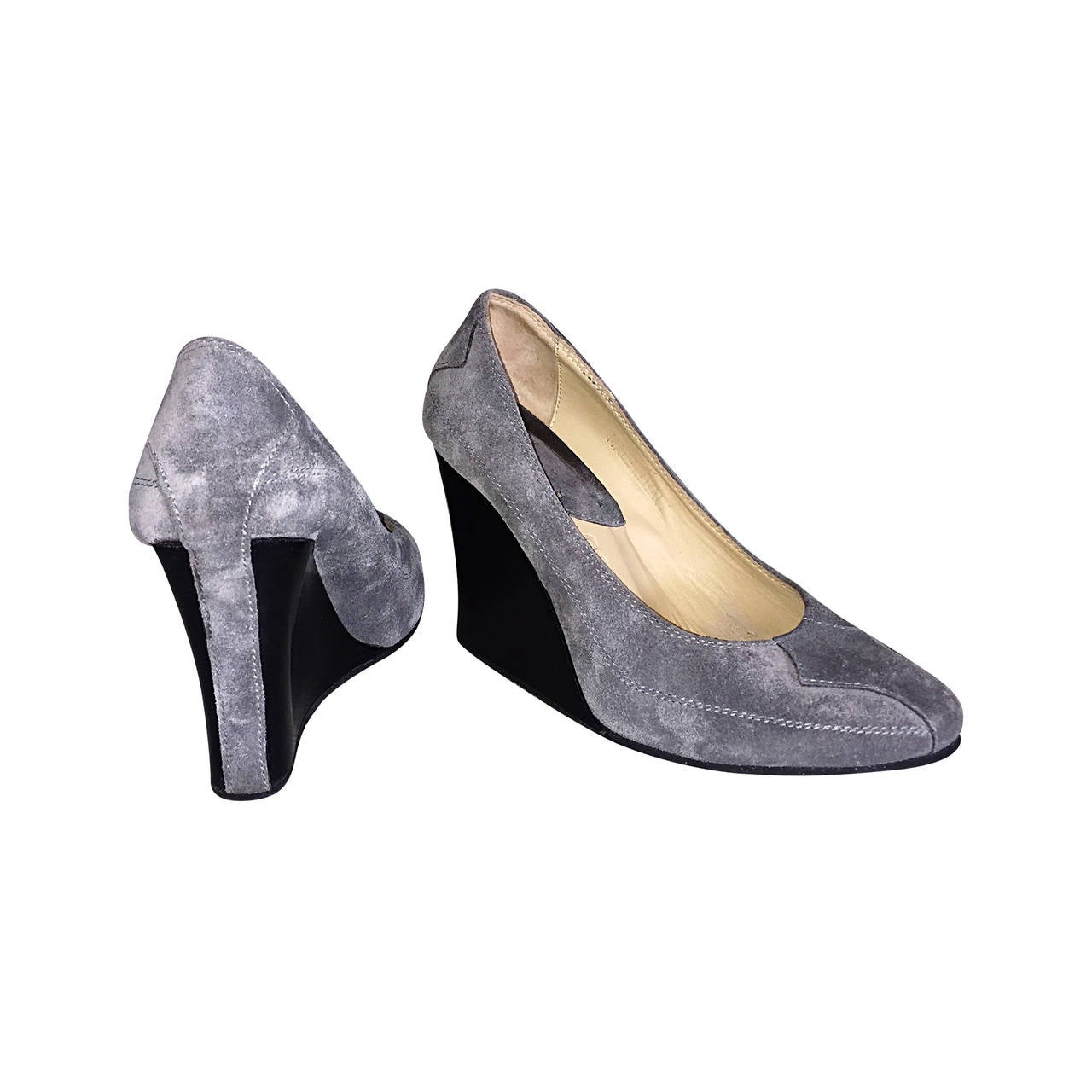 Never Worn Goldenbleu Gray Shoes / Wedges Size 36.5 / 6 - 6.5 Made in Italy For Sale