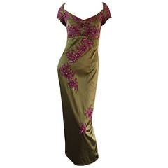 Beautiful Mandalay Chartreuse + Merlot Silk Bombshell Dress w/ Beading & Lace