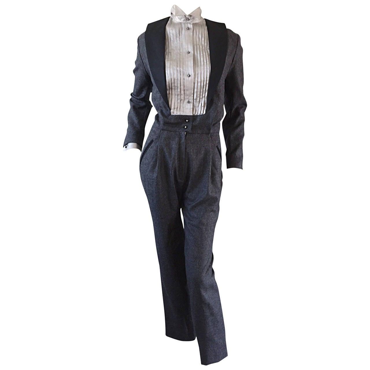 Rare Early Alberta Ferretti Charcoal Gray Vintage Tuxedo Jumpsuit
