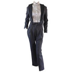 Rare Early Alberta Ferretti Charcoal Gray Vintage Tuxedo Jumpsuit
