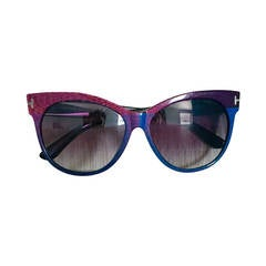 """Sold Out New Tom Ford """" Saskia """" Pink + Purple + Blue Cat Eye Sunglasses"""