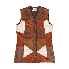 Made in Italy Rare 60s 70s Suede Leather Patchwork Vest for Macy's Associates