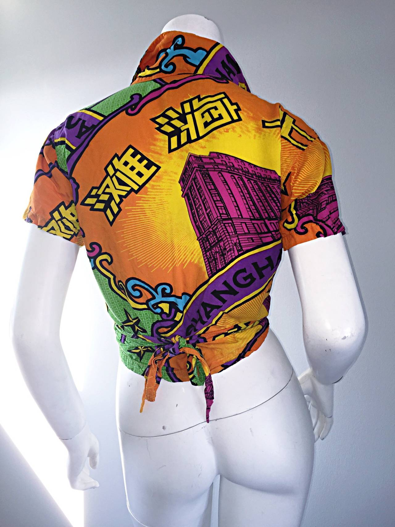 Early 90s Vintage Shanghai Tang Colorful Cropped Wrap Shirt / Blouse 3