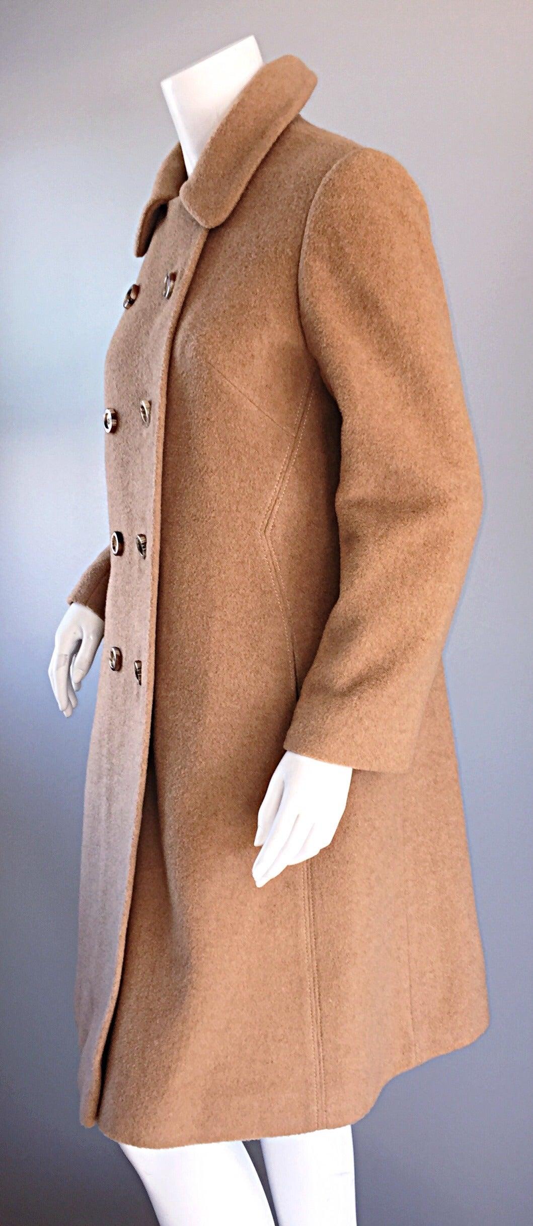 1960s Vintage Camels Hair 60s Designer Camel Coat Jacket For Sale 2