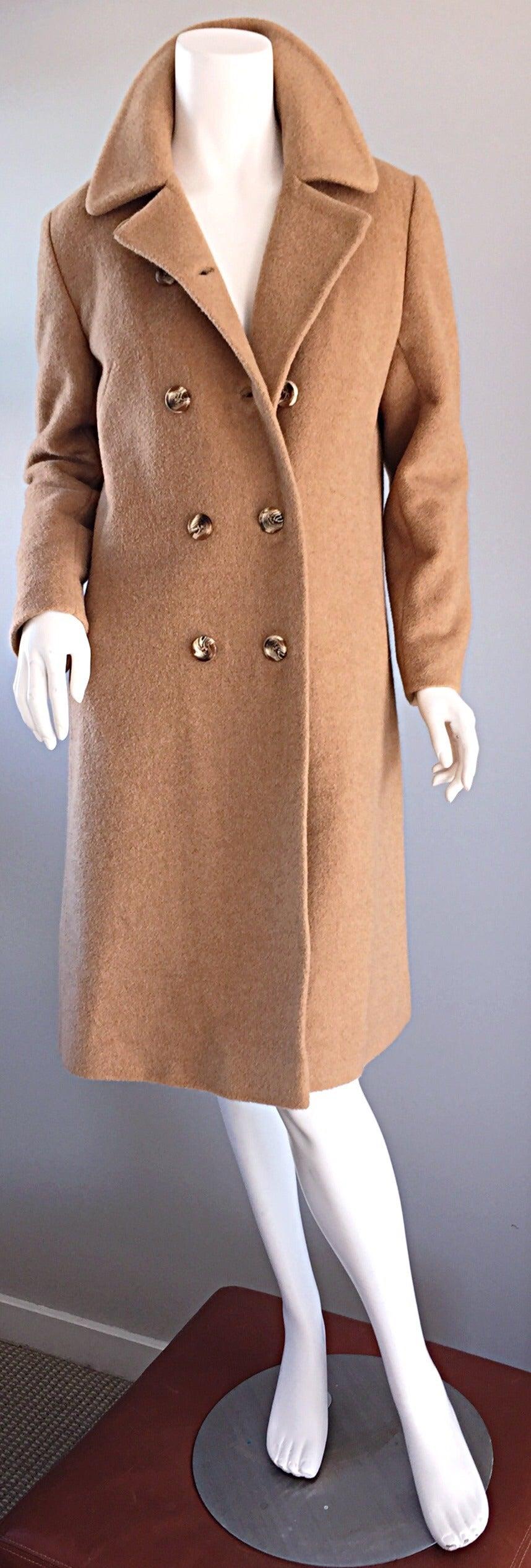 1960s Vintage Camels Hair 60s Designer Camel Coat Jacket In Excellent Condition For Sale In San Francisco, CA