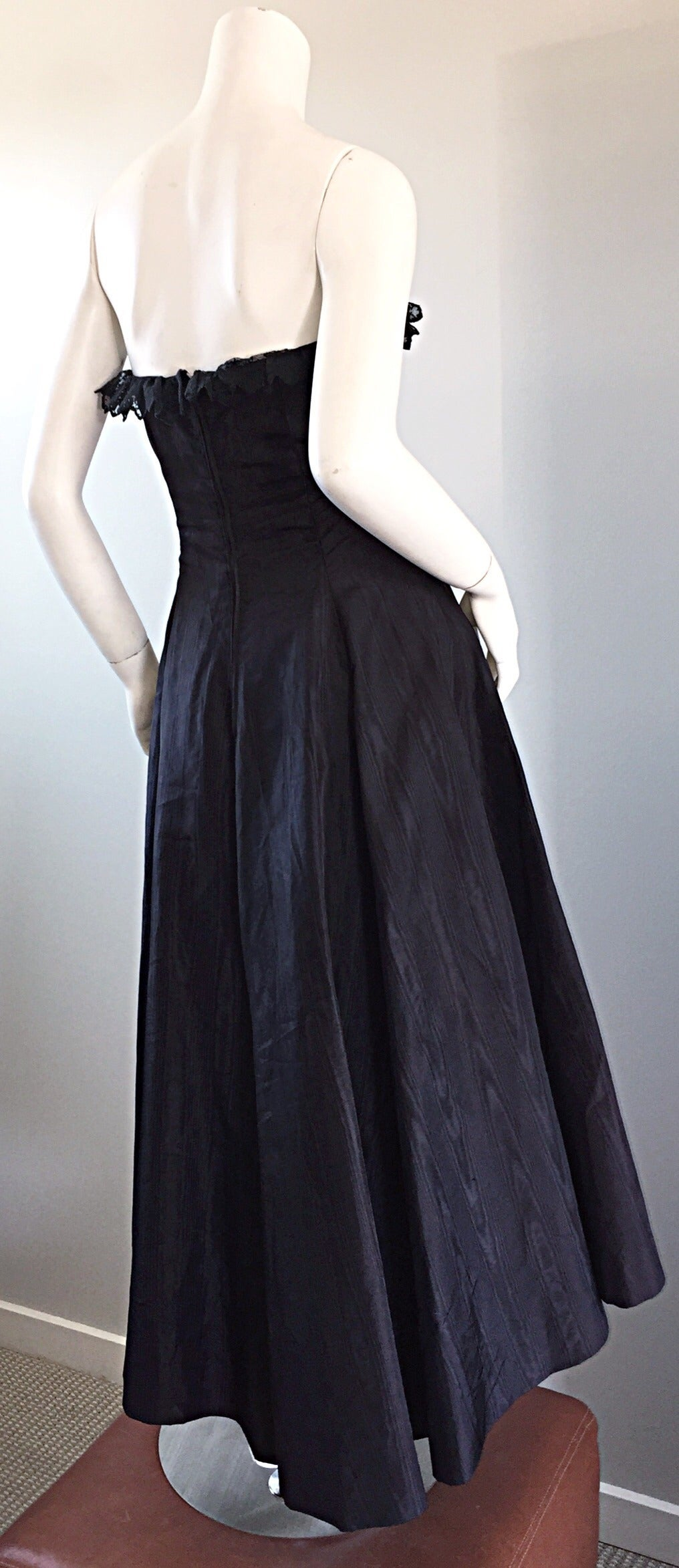 "1950s 50s Black Silk Taffeta + Lace Strapless "" New Look "" Vintage Dress 4"