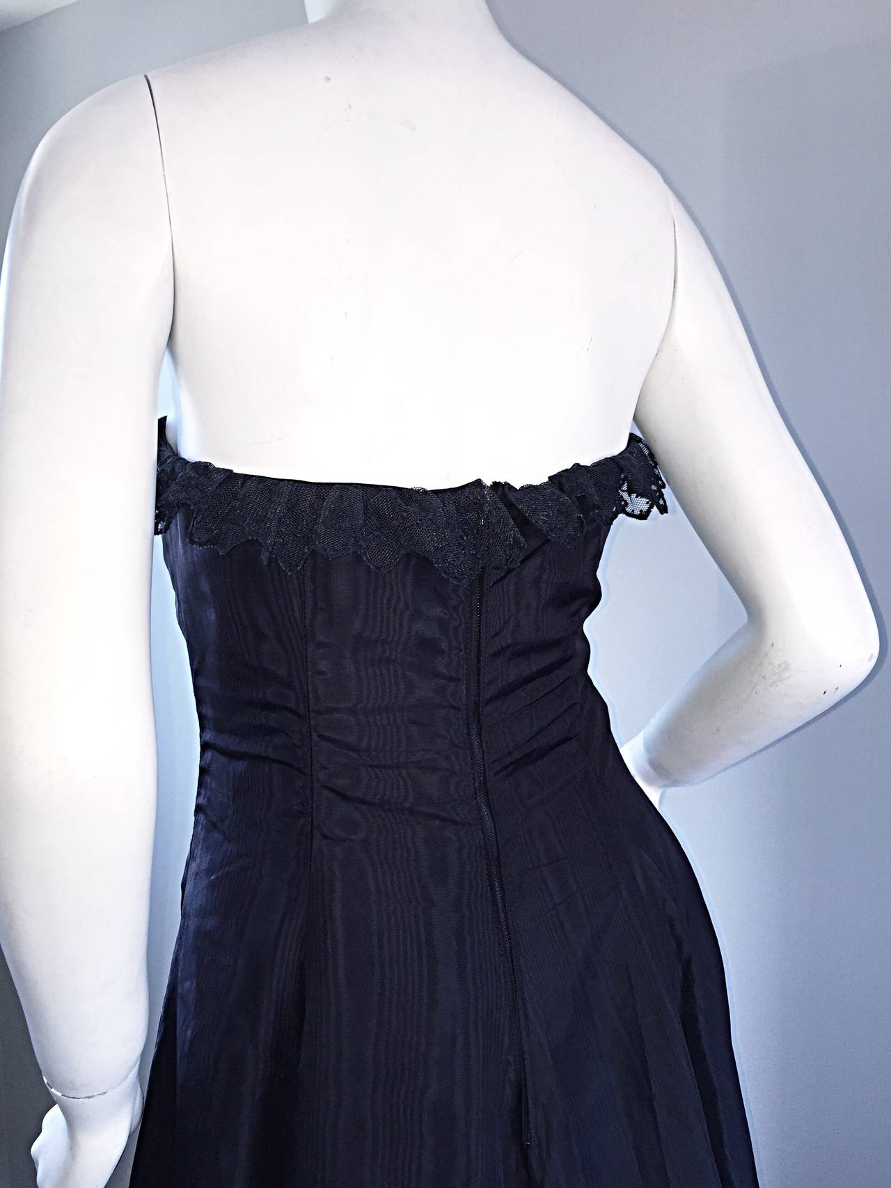 "1950s 50s Black Silk Taffeta + Lace Strapless "" New Look "" Vintage Dress 5"