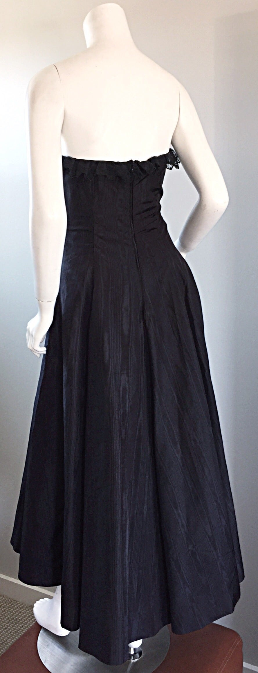 "1950s 50s Black Silk Taffeta + Lace Strapless "" New Look "" Vintage Dress 7"