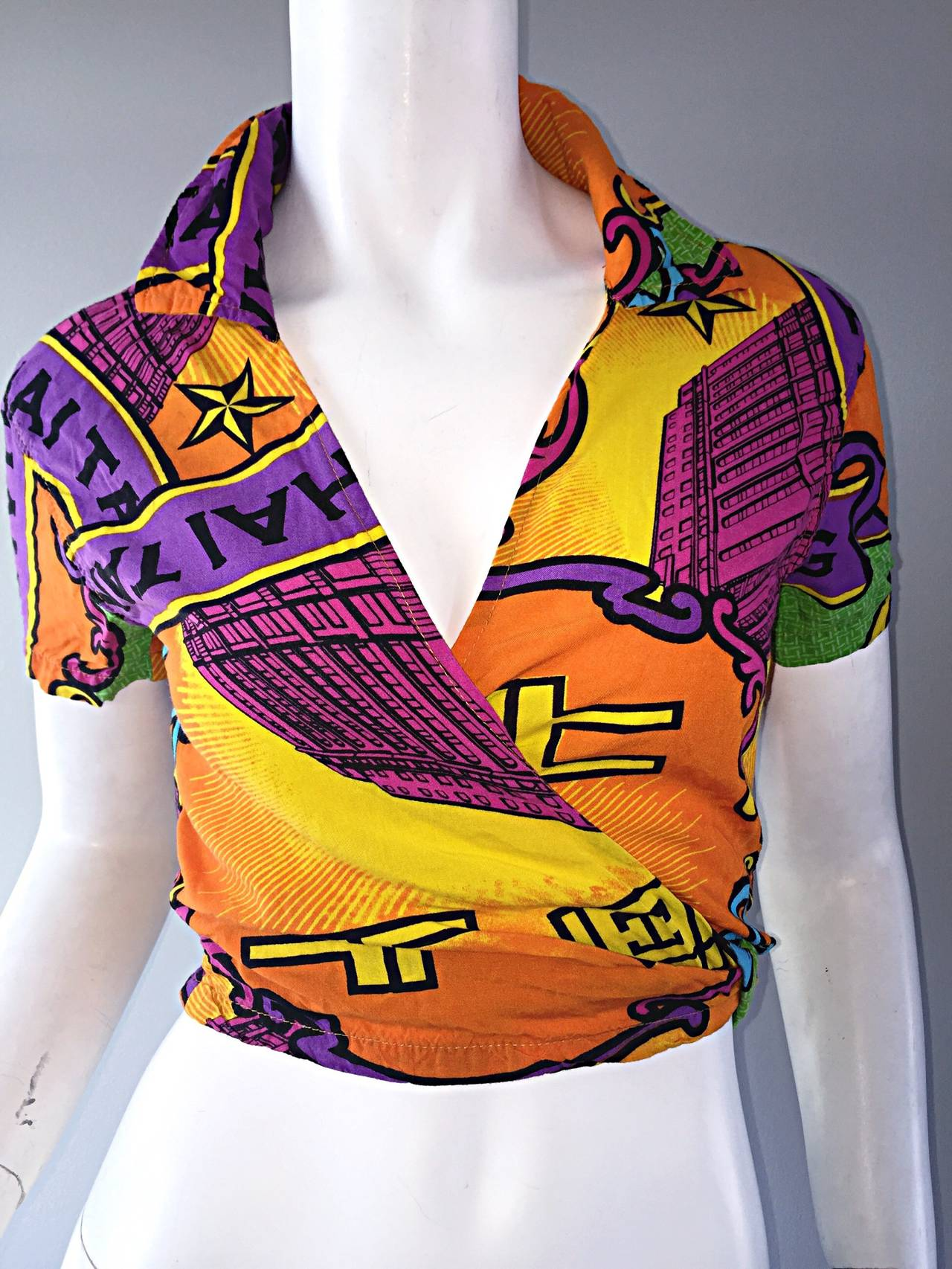 Early 90s Vintage Shanghai Tang Colorful Cropped Wrap Shirt / Blouse 6
