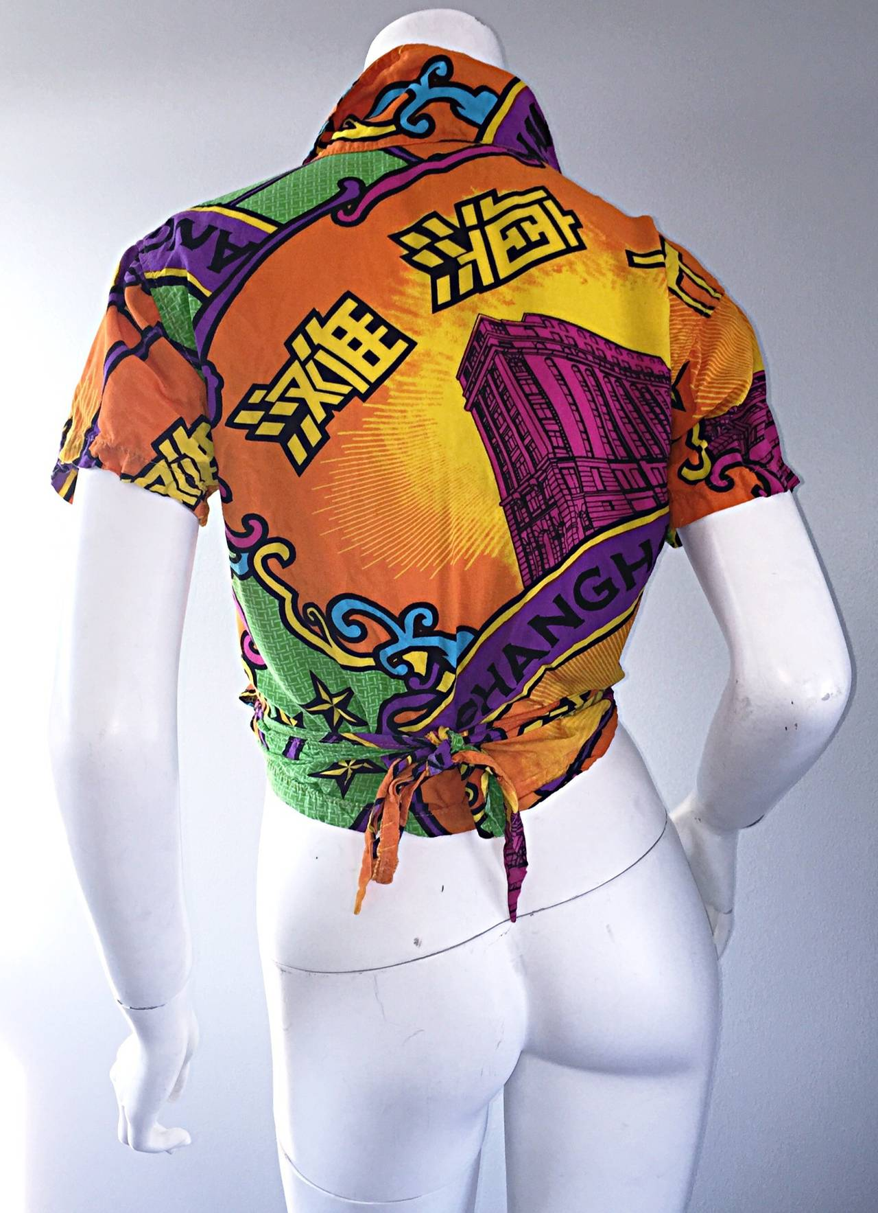 Early 90s Vintage Shanghai Tang Colorful Cropped Wrap Shirt / Blouse 7