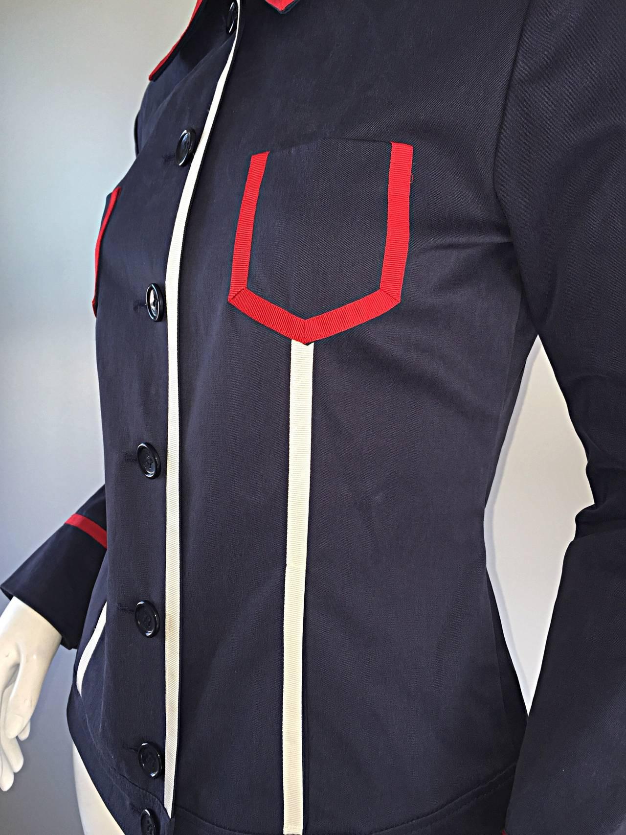 Escada Nautical Navy Blue Red White Ribbon Jacket For
