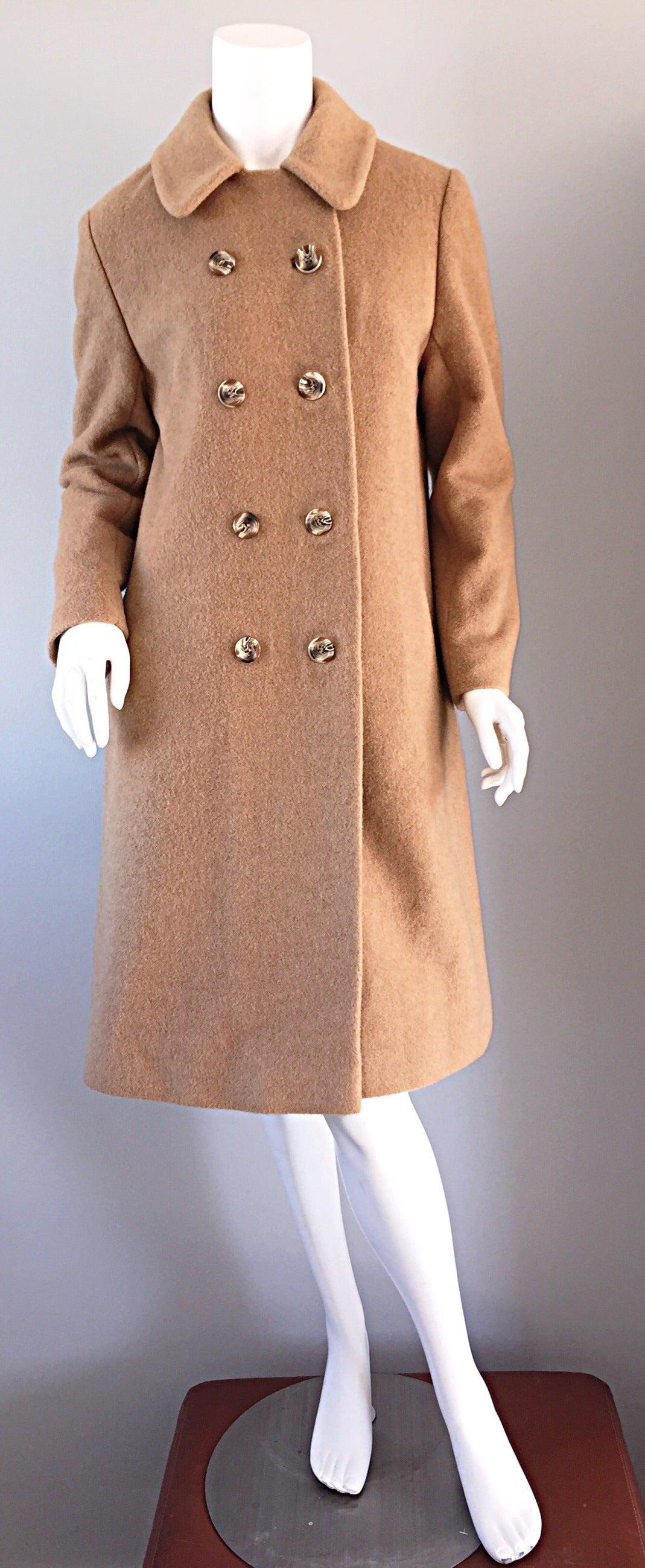 Women's 1960s Vintage Camels Hair 60s Designer Camel Coat Jacket For Sale