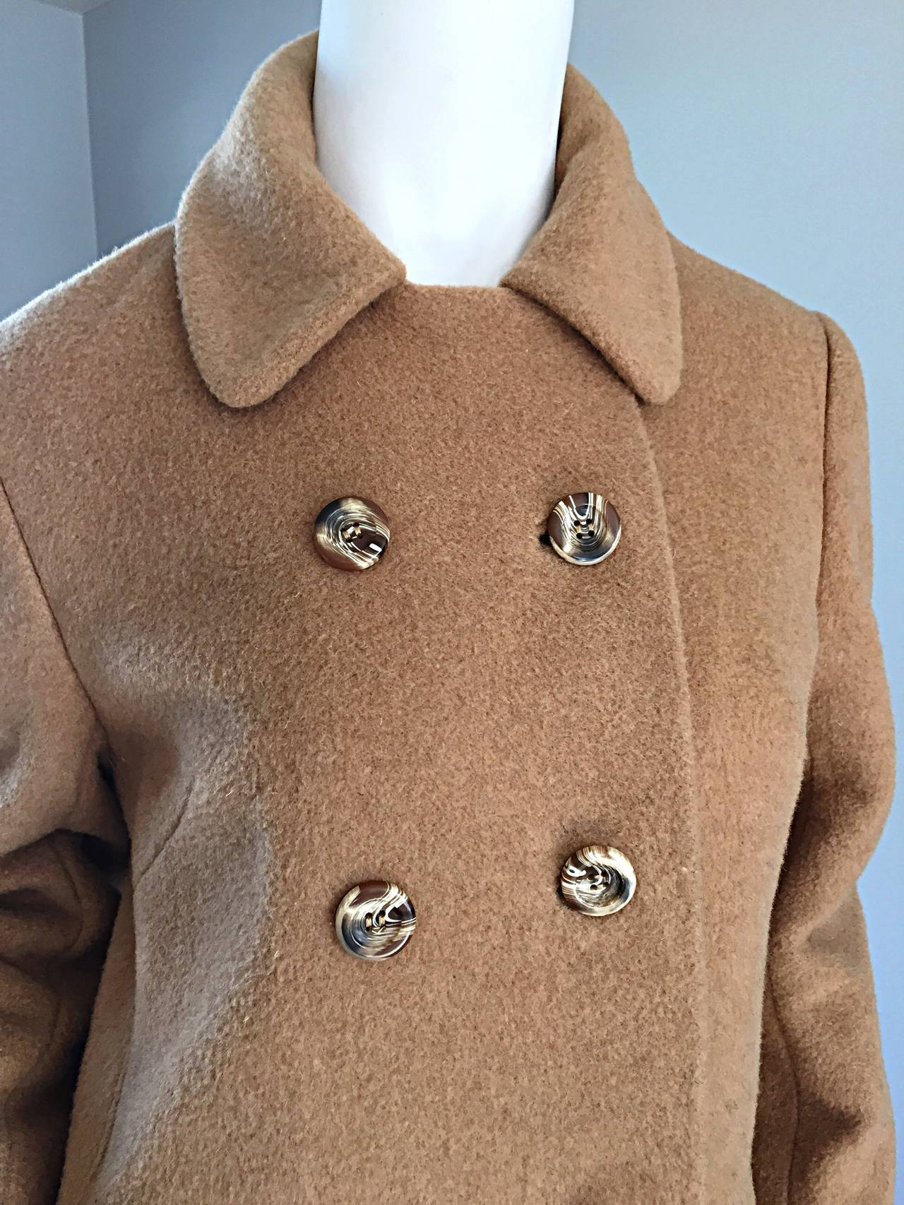 Brown 1960s Vintage Camels Hair 60s Designer Camel Coat Jacket For Sale
