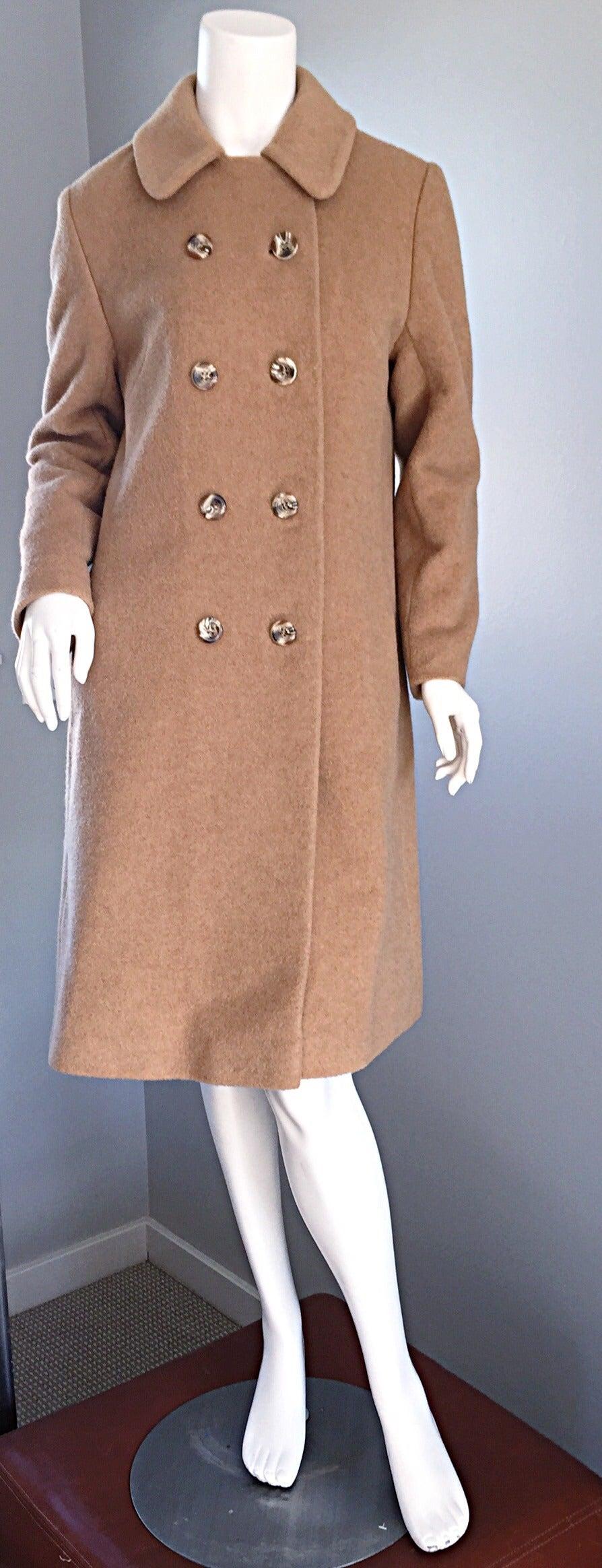 1960s Vintage Camels Hair 60s Designer Camel Coat Jacket For Sale 1
