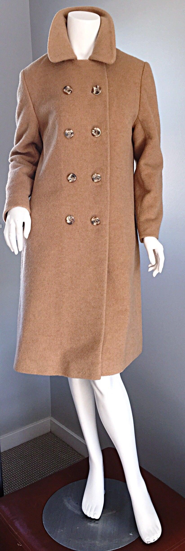 1960s Vintage Camels Hair 60s Designer Camel Coat Jacket 9