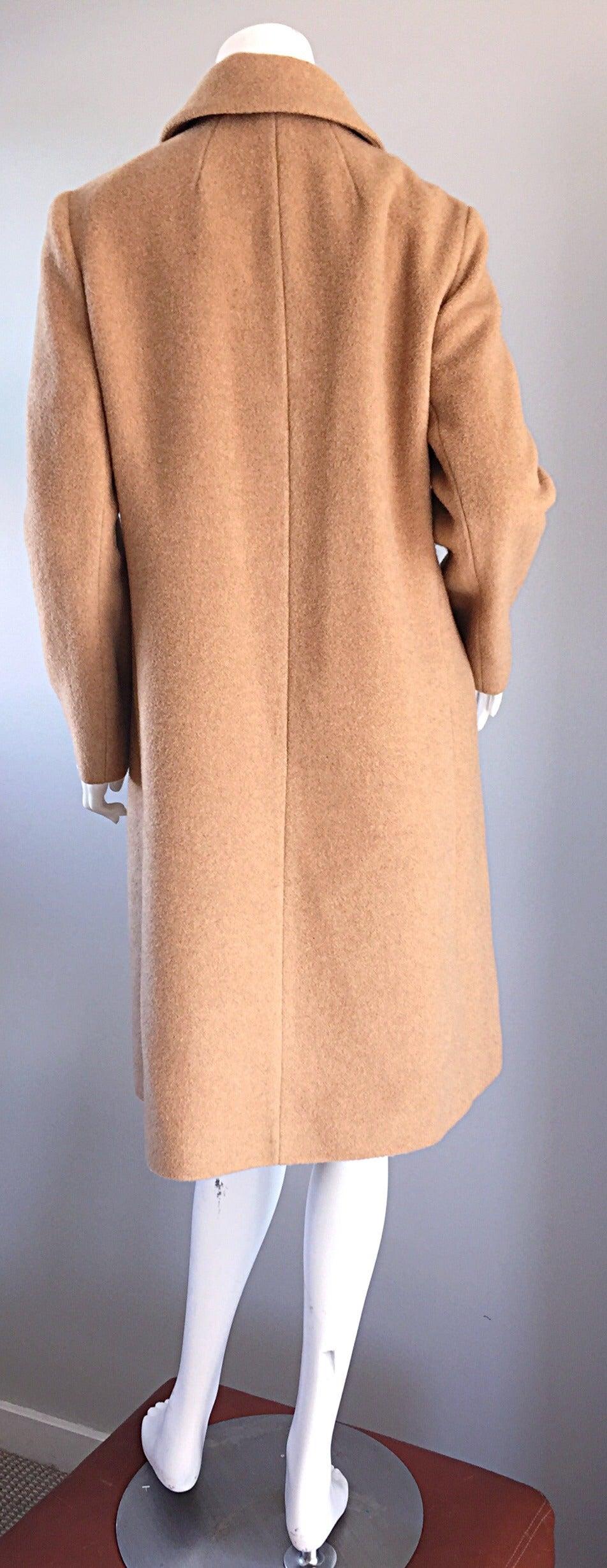 1960s Vintage Camels Hair 60s Designer Camel Coat Jacket For Sale 3
