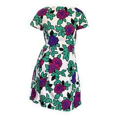 Cute 1950s ' Flowers + Leaves ' 3 - D Short Sleeve 50s Vintage Cotton Dress