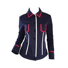 Escada Nautical Navy Blue + Red + White Ribbon Jacket