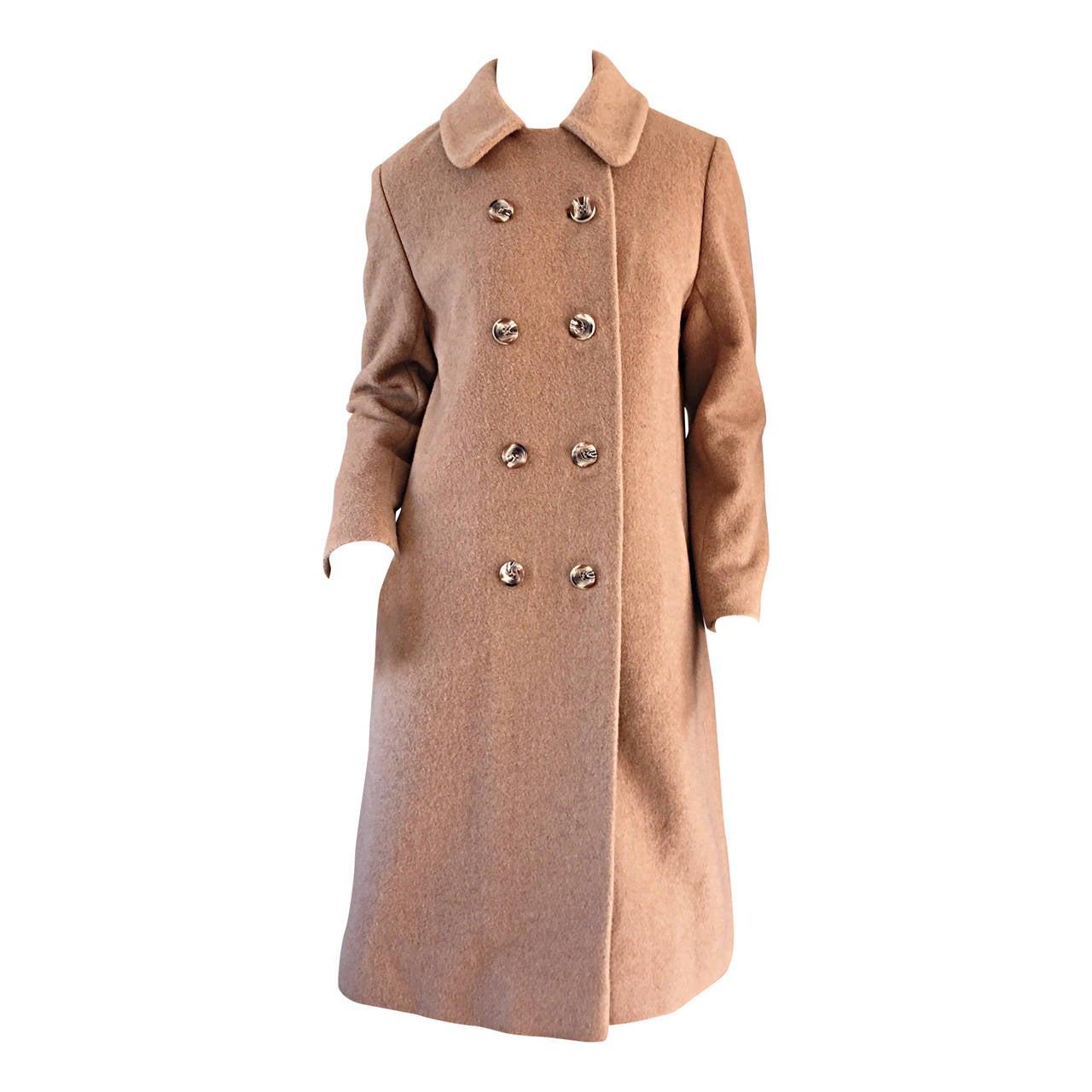 1960s Vintage Camels Hair 60s Designer Camel Coat Jacket For Sale