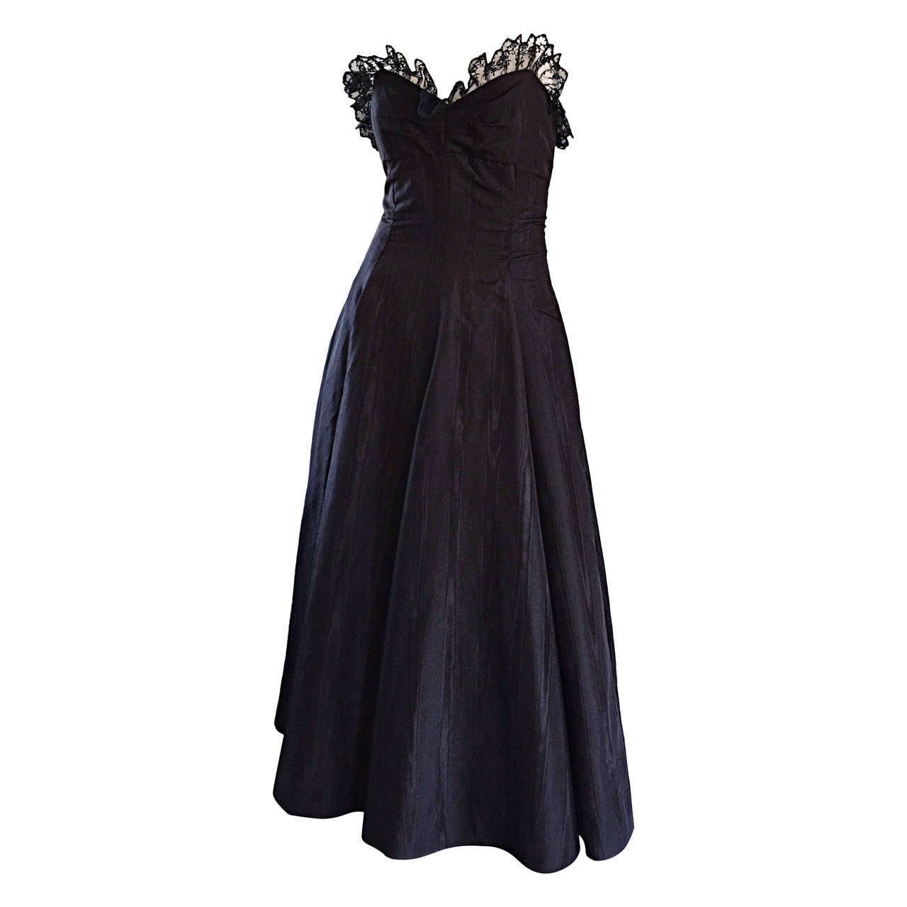 "1950s 50s Black Silk Taffeta + Lace Strapless "" New Look "" Vintage Dress 1"