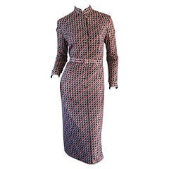 1970s Langetti Asian Inspired Geometric Vintage Shirt Dress Made in Italy