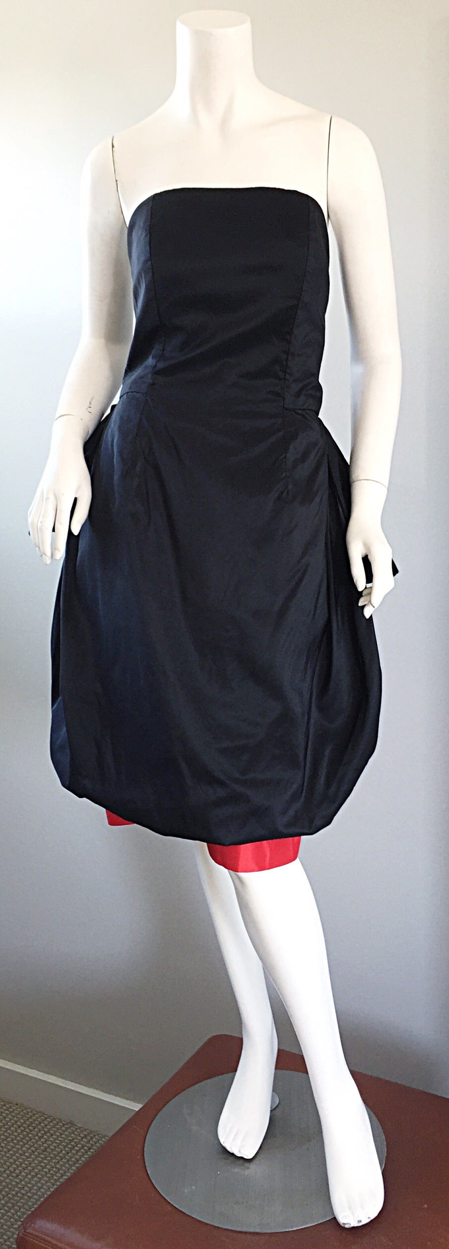 Rare Vintage Adam Beall Black + Red Strapless Silk ' Pouf ' Dress 2