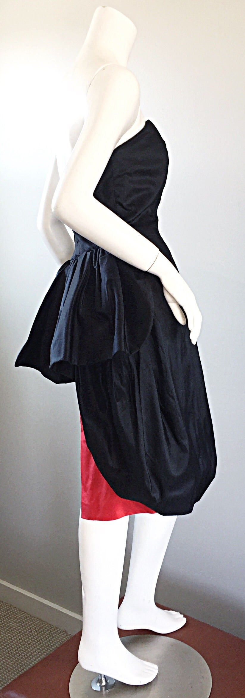 Rare Vintage Adam Beall Black + Red Strapless Silk ' Pouf ' Dress 3
