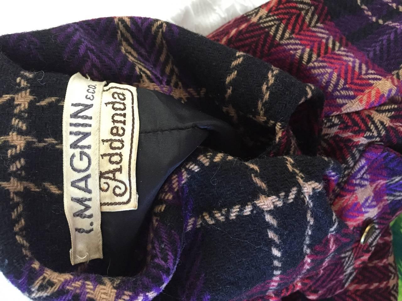 1970s Vintage Addena for I. Magnin Pink + Purple Plaid Herringbone Wool Jacket 10