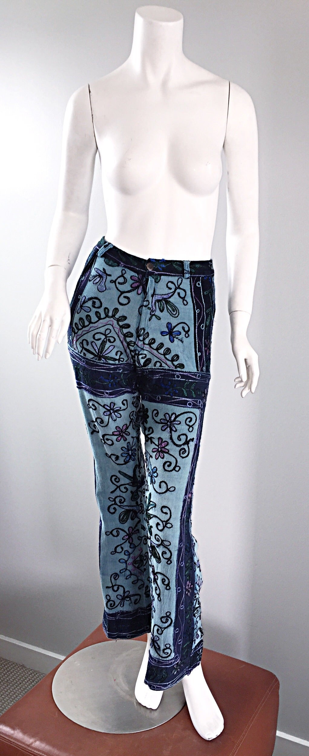Amazing 1970s 70s Embroidered Boho Flared Leg Vintage Denim Blue Jeans 3