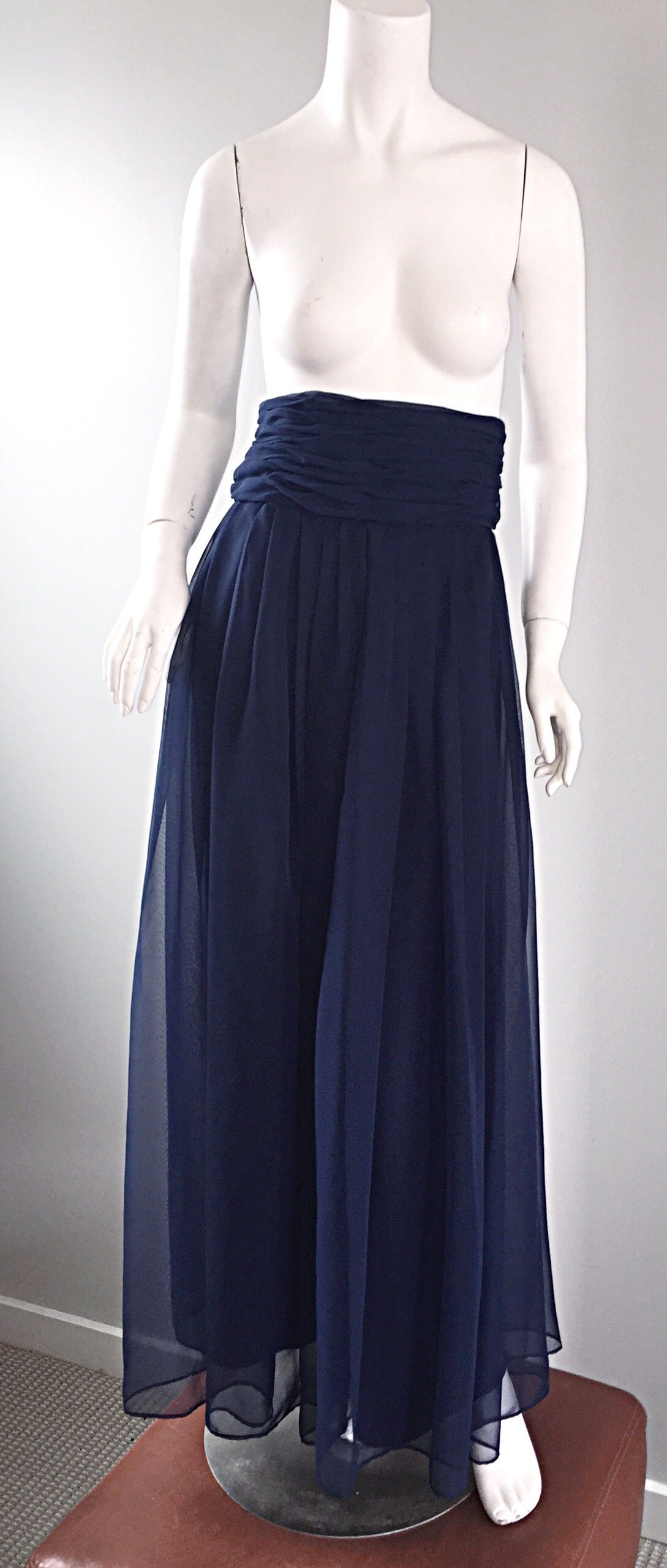Chic Vintage Evening Trousers Pants In Navy Blue By