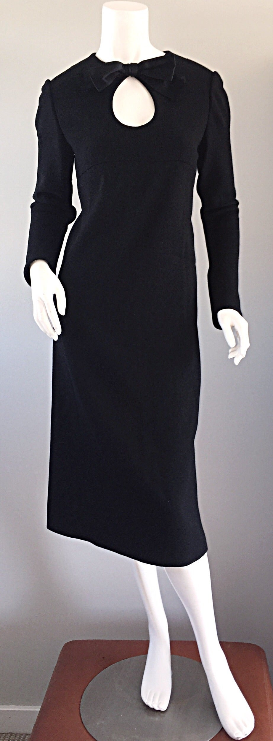 Iconic Vintage Pierre Cardin 1960s 60s Black Wool Cut - Out Dress w/ Bow For Sale 1